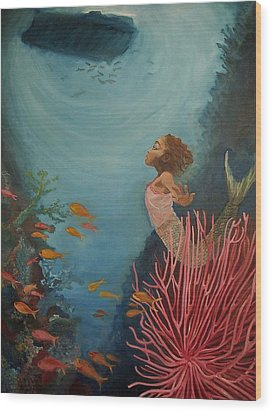 A Mermaid's Journey Wood Print by Amira Najah Whitfield