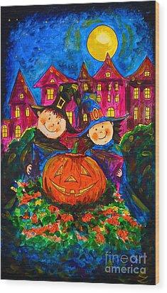 A Merry Halloween Wood Print by Zaira Dzhaubaeva