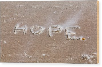 Wood Print featuring the photograph A Message On The Beach by John M Bailey