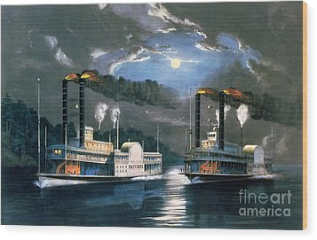 A Midnight Race On The Mississippi Wood Print by Currier and Ives