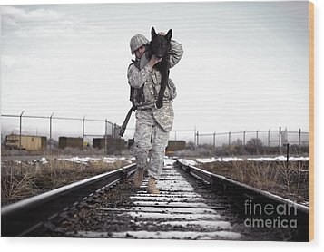 A Military Dog Handler Uses An Wood Print by Stocktrek Images