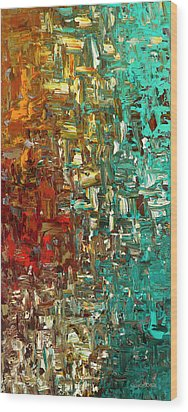 Wood Print featuring the painting A Moment In Time - Abstract Art by Carmen Guedez