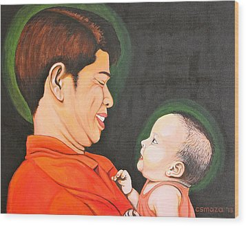 Wood Print featuring the painting A Moment With Dad by Cyril Maza