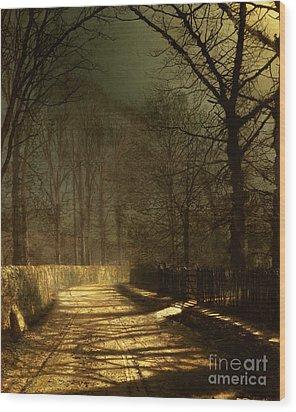 A Moonlit Lane Wood Print by John Atkinson Grimshaw