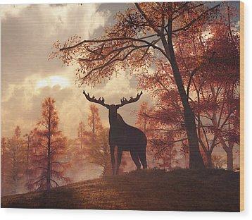 Wood Print featuring the digital art A Moose In Fall by Daniel Eskridge