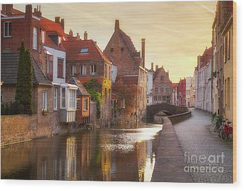 A Morning In Brugge Wood Print by JR Photography