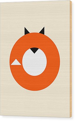 A Most Minimalist Fox Wood Print by Nicholas Ely