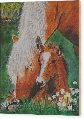 Wood Print featuring the painting A Mothers Love by Leslie Allen