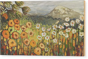 A Mountain View Wood Print by Jennifer Lommers