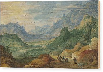 A Mountainous Landscape With Travellers And Herdsmen On A Path Wood Print by Jan Brueghel and Joos de Momper