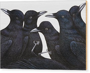 A Murder Of Crows Wood Print by Don McMahon