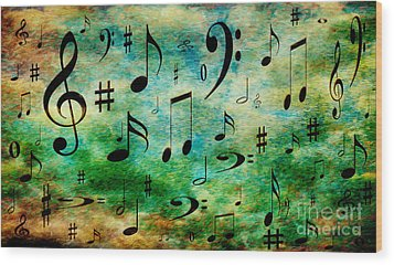 Wood Print featuring the digital art A Musical Storm 2 by Andee Design