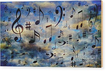 Wood Print featuring the digital art A Musical Storm 3 by Andee Design