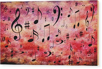 Wood Print featuring the digital art A Musical Storm 4 by Andee Design