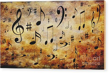 Wood Print featuring the digital art A Musical Storm by Andee Design