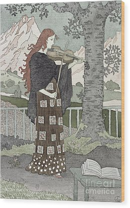 A Musician Wood Print by Eugene Grasset