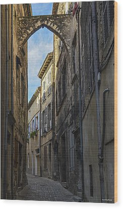 Wood Print featuring the photograph A Narrow Street In Viviers by Allen Sheffield