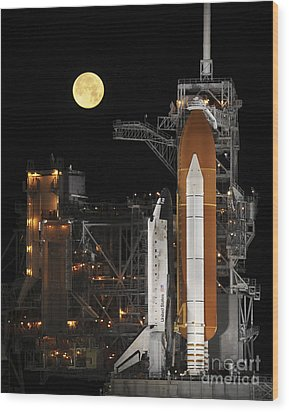 A Nearly Full Moon Sets As Space Wood Print by Stocktrek Images