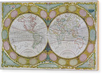 A New And Correct Map Of The World Wood Print by Robert Wilkinson