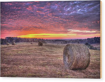 Wood Print featuring the photograph Before A New Day Georgia Hayfield Sunrise Art by Reid Callaway