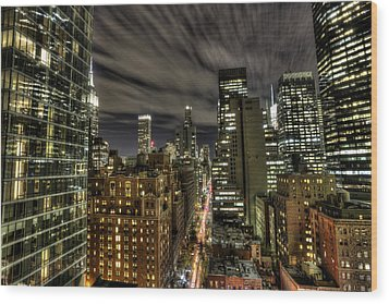 A New York City Night Wood Print by Shawn Everhart