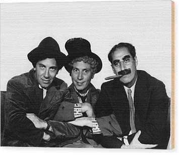 A Night At The Opera, Chico Marx, Harpo Wood Print by Everett