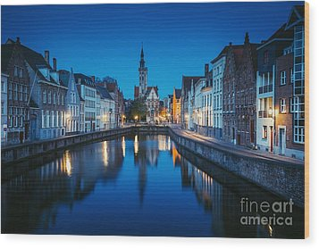A Night In Brugge Wood Print by JR Photography