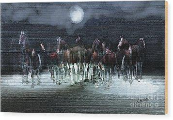 A Night Of Wild Horses Wood Print