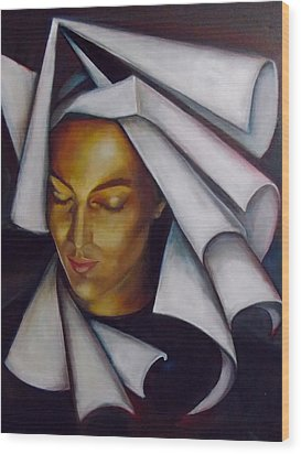 Wood Print featuring the painting A Nun by Irena Mohr