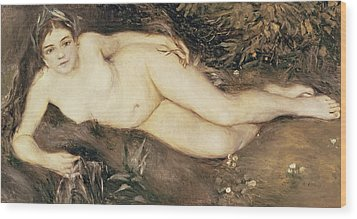 A Nymph By A Stream Wood Print by Pierre Auguste Renoir
