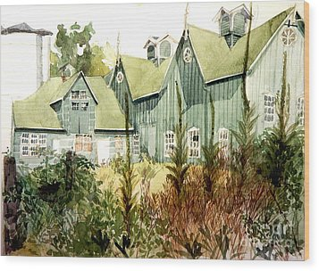 Watercolor Of An Old Wooden Barn Painted Green With Silo In The Sun Wood Print