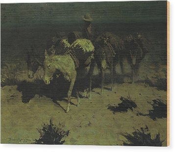 A Pack Train Wood Print by Frederic Remington