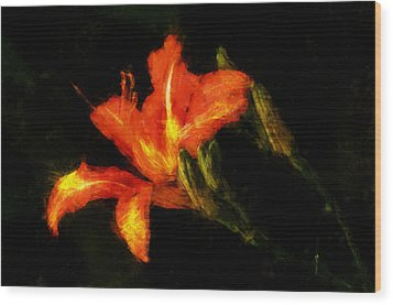 Wood Print featuring the digital art A Painted Lily by Cameron Wood