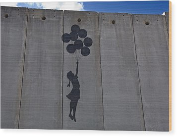 A Painting On The Israeli Separartion Wood Print by Keenpress