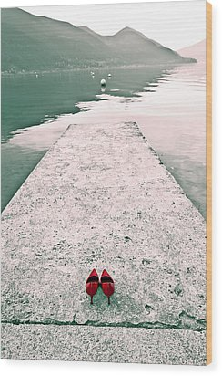 A Pair Of Red Women's Shoes Lying On A Walkway That Leads Into A Wood Print by Joana Kruse