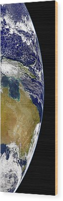 A Partial View Of Earth Showing Wood Print by Stocktrek Images