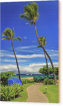 Wood Print featuring the photograph A Path In Kaanapali by James Eddy