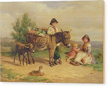 A Pause On The Way To Market Wood Print by J O Bank