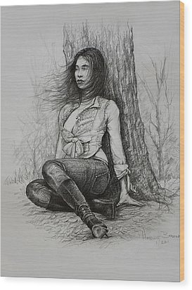 Wood Print featuring the drawing A Pensive Mood by Harvie Brown