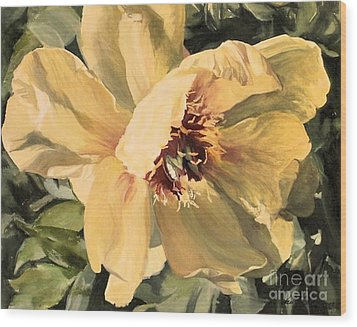 Wood Print featuring the painting A Peony For Miggie by Laurie Rohner
