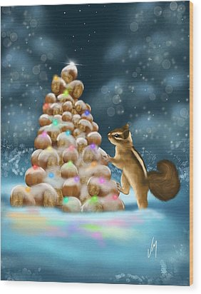 Wood Print featuring the painting A Perfect Christmas Tree by Veronica Minozzi