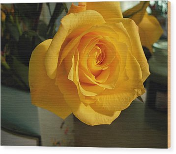 A Perfect Yellow Rose Wood Print