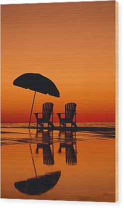 A Picturesque Scene With Two Chairs Wood Print by Michael Melford
