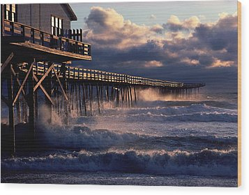 A Pier At Nags Head Is Pounded By Early Wood Print by David Alan Harvey