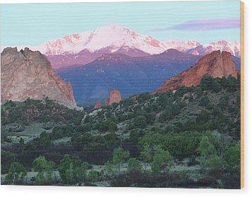 A Pikes Peak Sunrise Wood Print