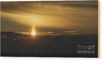 A Pillar Of Golden Light Wood Print by Brad Allen Fine Art
