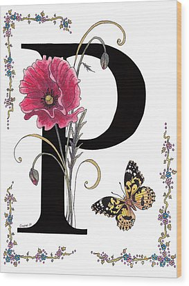 A Pink Poppy And A Painted Lady Butterfly Wood Print