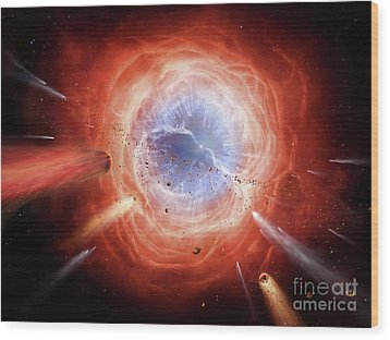 A Planetary Nebula Is Forming Wood Print by Brian Christensen