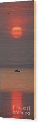 A Power Boat On Its Way To The Fishing Grounds Wood Print by John Harmon