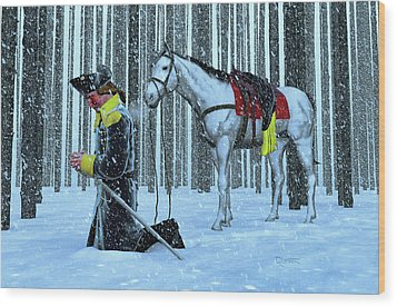 A Prayer In The Snow Wood Print by Dave Luebbert